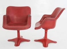 Lucca Antiques - Seating: Set (4) Italian Red Leather Dining Chairs