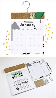 13 Modern Wall Calendars To Get You Organized For 2017 | This graphic calendar comes with a pinboard attachment to create a spot for holding notes and little reminders.