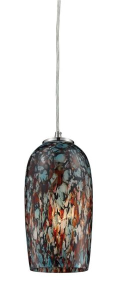"""Features  Please Note: Due to its hand-made nature, each uniquely beautiful piece of blown glass will vary slightly in color and pattern Made of metal and glass Comes with hand blown glass shade Requires (1) 60 watt Medium (E26) bulb Cord hung design Capable of being dimmed when used with incandescent bulbs UL rated for dry locations Covered under a 1 year limited manufacturer warrantyDimensions   Height: 8.0"""" Width: 4.0"""" Depth: 4"""" Product Weight: 3.0 lbs Cord Length: 72.0""""Electrical…"""