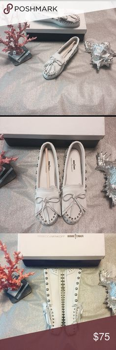 Rebecca Minkoff moccasins These white leather silver studded Minnetonka moccasins made by Rebecca Minkoff, are brand-new, and will be a perfect addition to your summer wardrobe! They are very comfortable and fit true to size Rebecca Minkoff Shoes Moccasins