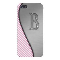 Cute Pink Stripes Monogram case Case For iPhone 5