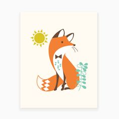 This sly little fox would be right at home in a modern or woodland themed nursery.   | Sea Urchin Studio #seaurchinstudio