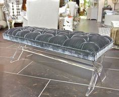 Lucite Bench - Gray Velvet Top - Clayton Gray HomeCool accent piece! LOVE LUCITE THESE DAYS! Plus the perfect shade of gray!!