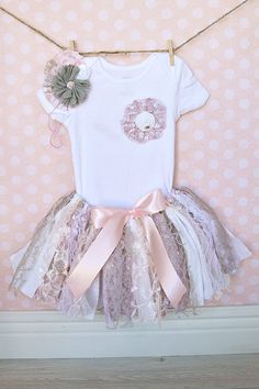 Shabby chic fabric tutu onesie and headband by ThePickledPeanut