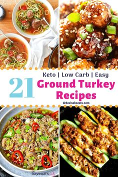 Make easy delicious dinners with this collection of keto ground turkey recipes. Includes main dishes as well as tips for low-carb side dishes. Wrap Recipes, Paleo Recipes, Recipes Dinner, Yummy Recipes, Ground Turkey Lettuce Wraps, Turkey Meatball Soup, Homemade Sloppy Joe Sauce, Turkey Stir Fry, Low Carb Side Dishes