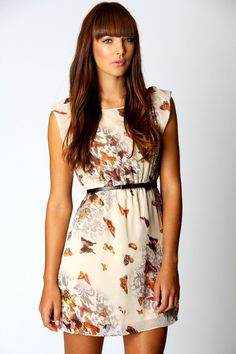 Tracey Butterfly Print Belted Skater Dress at boohoo.com