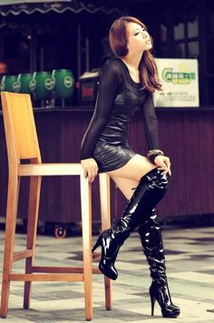 Womens Round Toe Over Knee Boots High Heel Stilettos Lace Up Pole Dancing Shoes High Heel Boots, Thigh High Boots, Over The Knee Boots, High Heels, Leather Fashion, Fashion Boots, Sexy Outfits, Ladies Long Boots, Sexy Stiefel