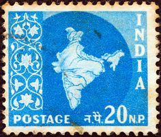 INDIA - CIRCA 1957: A stamp printed in India shows the map of India, circa 1957. Copyright: Lefteris Papaulakis