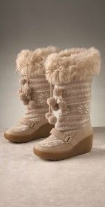 Juicy Couture knit & faux fur boots white/tan #juicy