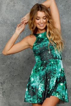 Galaxy Emerald Reversible Skater Dress - 48HR (AU $85AUD) by BlackMilk Clothing