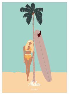 « My essentials Illustration Design Graphique, Beach Illustration, Deco Surf, Surf Drawing, Art Plage, Pop Art, Relaxing Art, Surf Art, Beach Art