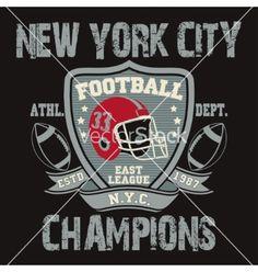 New york sport typography football logo vector on VectorStock