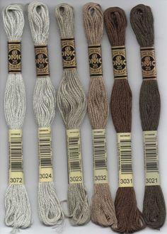 DMC six-stranded embroidery floss 3000 series - gray, soft yellow, tan, desert sand and purple series