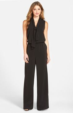 Free shipping and returns on Halogen® Tie Neck Jumpsuit (Regular & Petite) at Nordstrom.com. For effortless chic day or night, the one-piece jumpsuit takes top honors. In a wide-leg cut of fluid crepe, this sleeveless style gets an ultra-feminine twist from soft ties at the V-neckline.