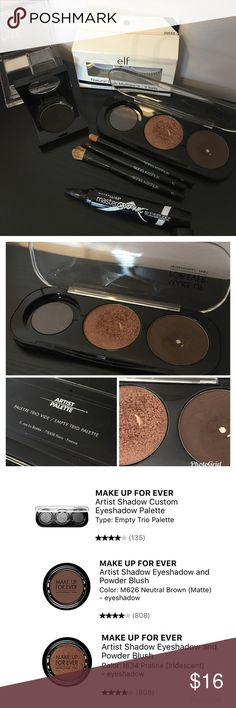 ❇️FLASH SALE❇️ Eye bundle! Shadows, brushes +more 8 item bundle! -Make Up Forever eyeshadow Artists Palette. Palette is sold empty and you can customize. Shades are shown in pics. -3 travel size brushes from Sonia Kashuk -Maybelline Master Graphic liner marker in black. Opened but never used. -Victoria's Secret matte eyeshadow in Lights Out (black) -Miki eyeshadow palette in Smokey Blacks -E.L.F. False lashes. Note: box comes with three pairs but there are only two pairs. The two have never…