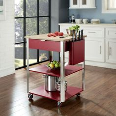 Classic detail meets modern stainless design in the Kitchen Cart with Butcher Block Top from Crosley. This Culinary prep essential kitchen tool is perfect for the most complex food prep chores. Oft-used gadgets rest easily in the large drawer, and knives Red Kitchen Island, Kitchen Island With Seating, Kitchen Islands, Food Storage, Kitchen Storage, Modern Farmhouse Kitchens, Cool Kitchens, Small Kitchens, Diy Design