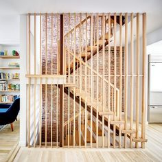 This project is a renovation and extension to a wide rowhouse in Brooklyn, New York. BFDO completely gutted the existing four story brick building and a. Townhouse Interior, Townhouse Designs, Interior Stairs, Interior Ideas, Brownstone Interiors, Interior Inspiration, Narrow House Designs, Narrow House Plans, Building Stairs