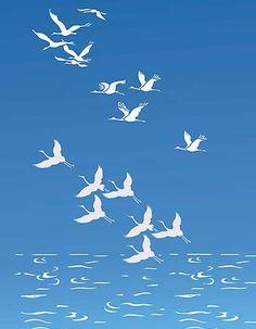 Flying Cranes Bird Stencil