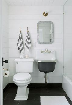 Home Decor Ideas : Illustration Description The vintage sink paired with a modern toilet and color scheme keeps it feeling updated Find More Accessories & Tiny House Bathroom, Bathroom Renos, Basement Bathroom, Bathroom Ideas, White Bathroom, Master Bathroom, Bathroom Storage, Modern Bathroom, Concrete Bathroom
