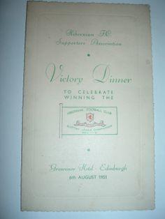 Hibernian Championship Winners menu 1951