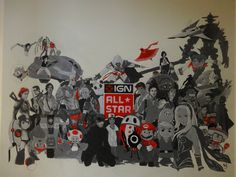 Check out this IGN All Star Mural painted in our office by IGN fan pandamusk