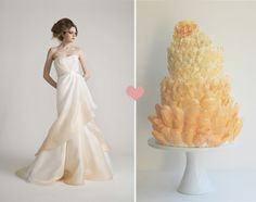 ombre wedding dress partnered with cake. the gradation from ivory to peach in junko yoshioka's valentina dress is perfectly mimicked in the delicate layers of the petal cake by magpie