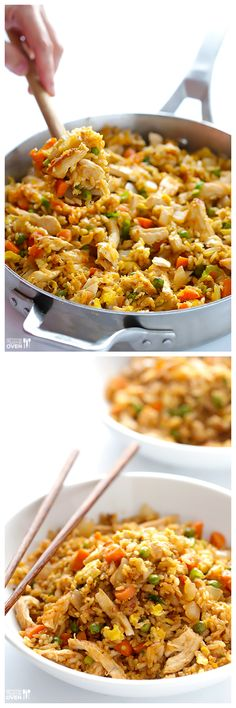 Spicy Chicken Fried Rice -- delicious and easy fried rice is kicked up a notch with some sriracha! Sub tofu for egg/chicken = vegan Spicy Recipes, Asian Recipes, Chicken Recipes, Cooking Recipes, Healthy Recipes, Good Food, Yummy Food, Rice Dishes, Main Meals