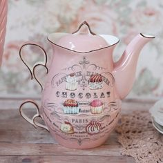 """Chocolat"""" tea for one stacking set- ooh la la! Tea For One, My Cup Of Tea, Marie W, Teapots And Cups, Teacups, China Tea Cups, Chocolate Pots, Pink Chocolate, French Chocolate"""