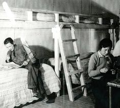 Arrival of evacuees - 10 :: Camp Amache Digital Collection - the evacuees (prisoners) try to make their barracks look like home
