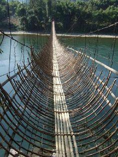 The Hanging Bamboo Bridge, Pobdi, near Along