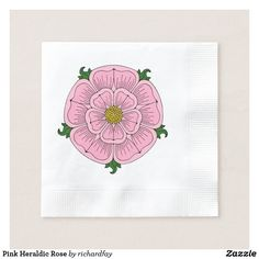 Pink Heraldic Rose Paper Napkin.  Harvest the Fun Save 40% Off Serving Trays, Paper Napkins & More Party details that will steal the show Promo Code: TRICKANDSAVE.  Offer is valid through September 27, 2017 11:59 PM PT.  #Zazzle #paper_napkin #napkin #pink_rose #heraldic_rose #rose