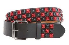 "Snap On 1 1/2"" Red & Black Checkerboard Punk Rock Studded Belt Size: XL 42-44 Color: Black beltiscool. $8.69"