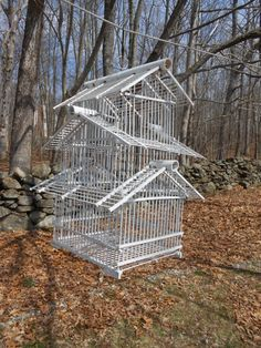 White Bamboo Pagoda 3 Tier Bird Cage by RememberingDiane on Etsy, $64.00