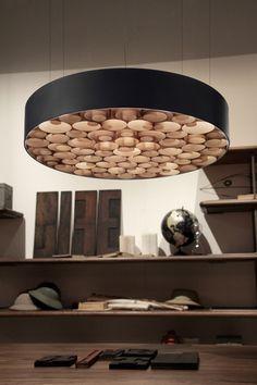 LZF Spiro Suspension Lamp   Handmade in Spain from wooden veneers   lzf-lamps.com #woodveneerlamps #woodlamps