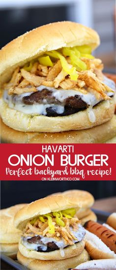 Havarti Onion Burger Recipe is the perfect grilling recipe to add to your summer backyard BBQ party. Loaded with crunchy fried onions & paired with iced tea! @LiptonIcedTea #Lipton #LiptonMeal #LiptonMealSweepstakes