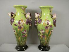 Majolica DELPHIN MASSIER pair of monumental vases