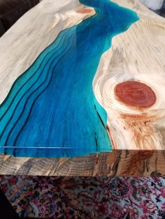 *SOLD* This table has been sold but I can make similar tables if desired. Just contact me and we can discuss details! Please do not try to purchase this item, I have left it up as an example piece. Unique epoxy stream table made by me with great attention to detail. Made from a