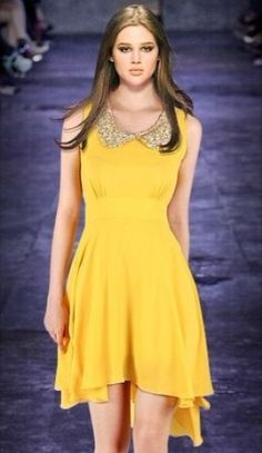 Yellow Sleeveless Sequined High Low Waist Dress - Sheinside.com