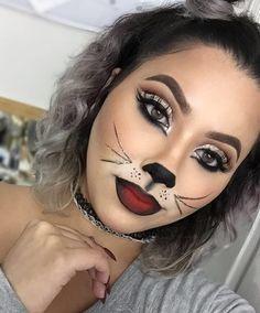 41 Easy Cat Makeup Ideas for Halloween - Karneval schminken - halloween schminke Unique Halloween Makeup, Halloween Cat, Halloween Costumes, Trendy Halloween, Halloween Parties, Vintage Halloween, Cat Face Makeup, Eye Makeup, Kitty Cat Makeup