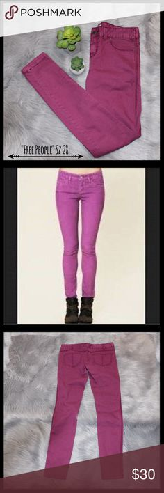 """Free People Wild Berry Magenta Skinny Jeans Free People wild berry magenta skinny jeans in a size 28.  Four pocket style. Free people button on front with zipper closure.  Measures 16"""" flat lay waist, 8 1/2"""" rise, and 30 1/2"""" inseam.    In excellent condition. Free People Jeans Skinny"""