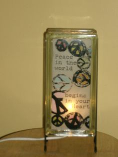 Peace in the World glass block night light by Glowblocks on Etsy, $60.00
