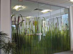 Frameless glass partitions Glass Sticker Design, Glass Film Design, Office Walls, Office Wall Decor, Office Glass Wall, Office Interior Design, Interior Walls, Office Interiors, Window Film