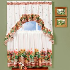 Achim Home Furnishings Country Garden Tier and Swag Set, by Multi: Printed Tier and Swag sets are the perfect finishing décor for you kitchen window. Each set comes with a pair of Tailored Tiers and 1 swag. Swag Curtains, Ruffle Curtains, Tier Curtains, Cafe Curtains, Window Curtains, Pattern Curtains, Bedroom Curtains, Bay Window, French Country Kitchens