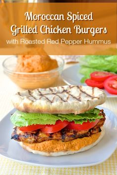 Moroccan Marinated Flatbread Grilled Chicken Burgers with Red Pepper Hummus - Rock Recipes