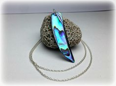 Abalone Necklace Sterling Silver Abalone Shell Necklace Horn