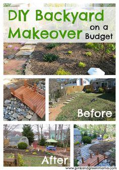DIY Backyard Makeover on a Budget from Pink and Green Mama Blog (xeriscaping, dry river bed, dog- and kid-friendly)