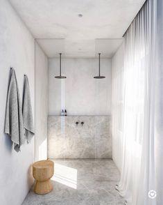 modern bathroom design with modern walk in shower with two rainfall shower heads, minimalist bathroom design, netural gray bathroom design Bad Inspiration, Bathroom Inspiration, Interior Inspiration, Morning Inspiration, Bathroom Interior Design, Home Interior, Interior Styling, Ikea Interior, Apartment Interior