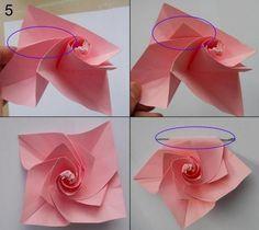 Rose aus Papier falten - Blumen basteln - Anleitung-dekoking-com-5