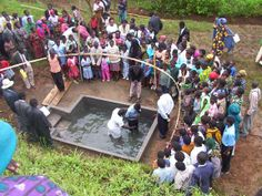 The baptism at the circuit assembly in Tukuyu, Tanzania.