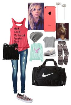"""""""Hanging out then staying the night."""" by searra-carriker ❤ liked on Polyvore featuring American Eagle Outfitters, LA: Hearts, Monki, UGG Australia, Vero Moda, NIKE, La Senza, Vans, MICHAEL Michael Kors and Beats by Dr. Dre"""